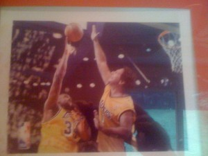 The blogger, in Laker gear, about to block a shot by Shaquille O'Neal